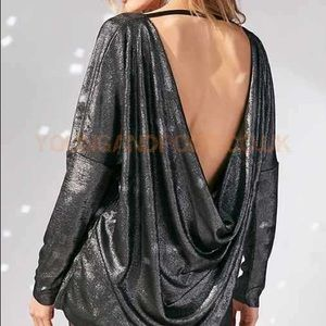 UO Cowl back shimmer top NWT